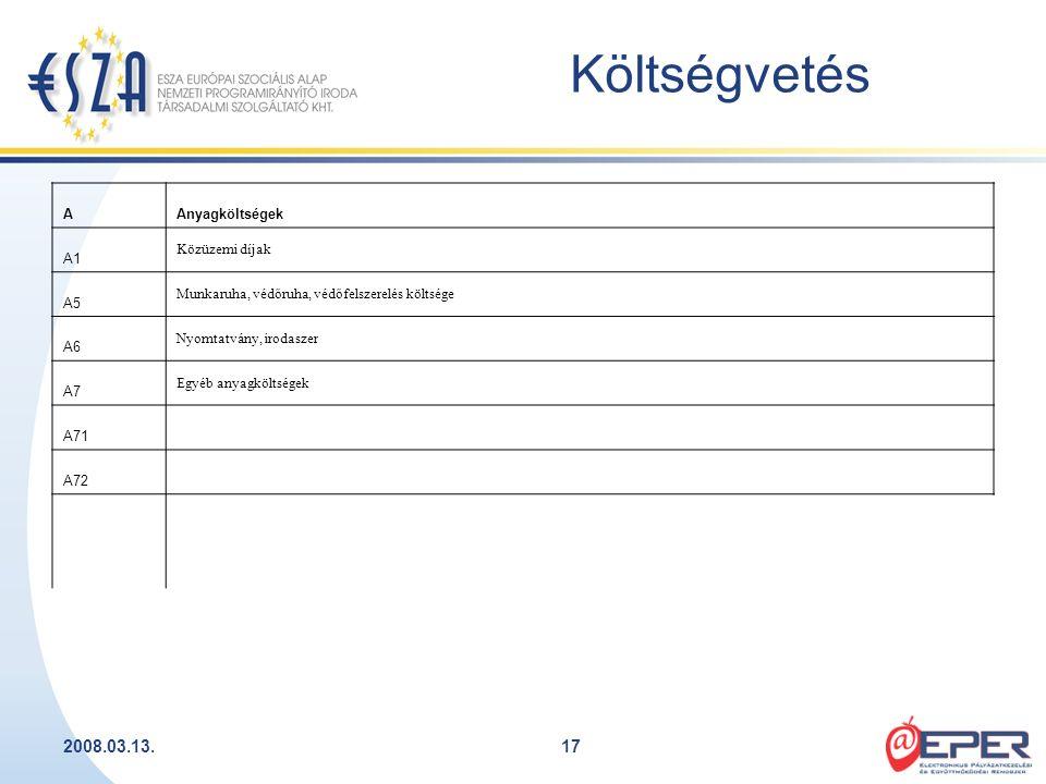2008.03.13.17 Költségvetés AAnyagköltségek A1 Közüzemi díjak A5 Munkaruha, védőruha, védőfelszerelés költsége A6 Nyomtatvány, irodaszer A7 Egyéb anyag