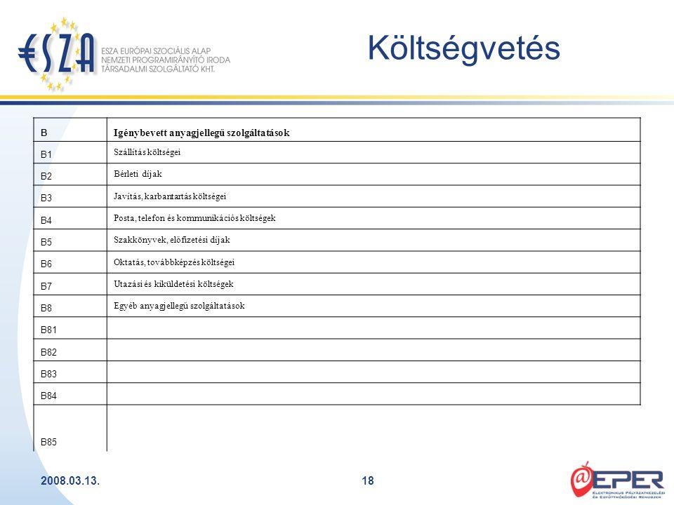 2008.03.13.18 Költségvetés B Igénybevett anyagjellegű szolgáltatások B1 Szállítás költségei B2 Bérleti díjak B3 Javítás, karbantartás költségei B4 Pos