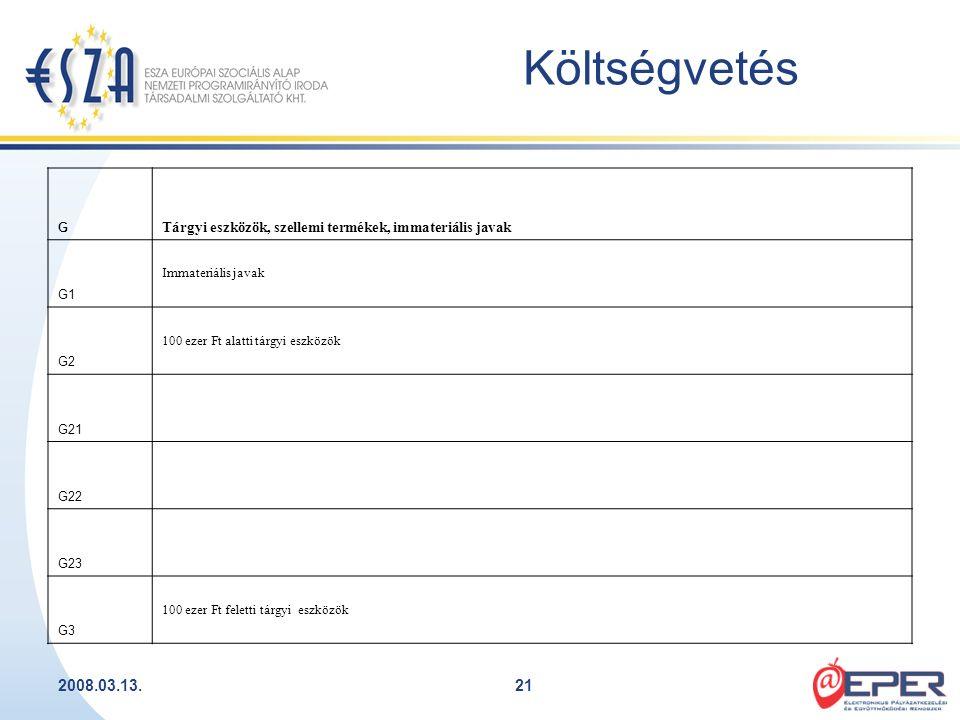 2008.03.13.21 Költségvetés G Tárgyi eszközök, szellemi termékek, immateriális javak G1 Immateriális javak G2 100 ezer Ft alatti tárgyi eszközök G21 G2