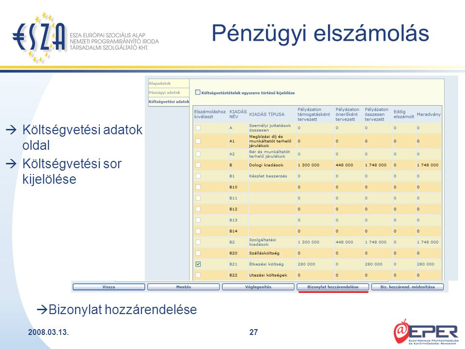 2008.03.13.27  Költségvetési adatok oldal  Költségvetési sor kijelölése  Bizonylat hozzárendelése Pénzügyi elszámolás