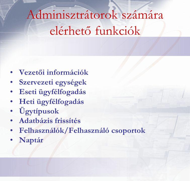 Adminisztrátorok számára elérhető funkciók Vezetői információk Szervezeti egységek Eseti ügyfélfogadás Heti ügyfélfogadás Ügytípusok Adatbázis frissítés Felhasználók/Felhasználó csoportok Naptár