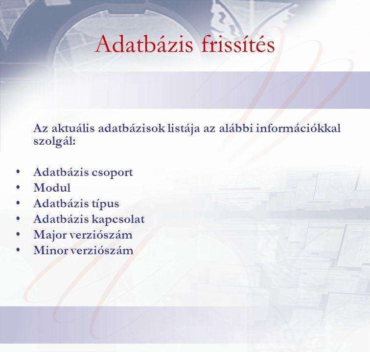 Adatbázis frissítés Az aktuális adatbázisok listája az alábbi információkkal szolgál: Adatbázis csoport Modul Adatbázis típus Adatbázis kapcsolat Major verziószám Minor verziószám