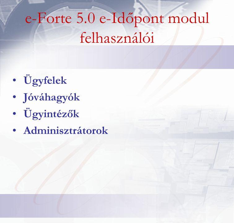 e-Forte 5.0 e-Időpont modul felhasználói Ügyfelek Jóváhagyók Ügyintézők Adminisztrátorok