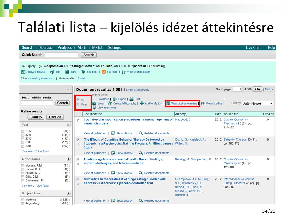 Találati lista – kijelölés idézet áttekintésre 54/23