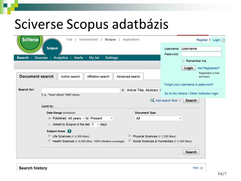 SciVerse Scopus - regisztráció 54/8