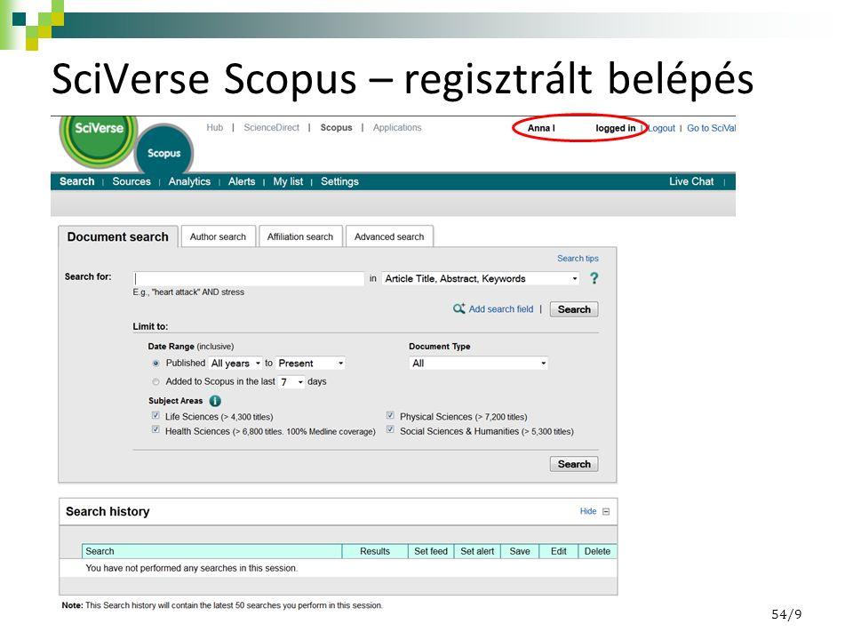 SciVerse Scopus – regisztrált belépés 54/9