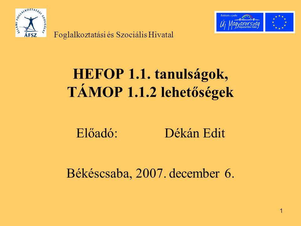 1 HEFOP 1.1. tanulságok, TÁMOP 1.1.2 lehetőségek Előadó: Dékán Edit Békéscsaba, 2007. december 6. Foglalkoztatási és Szociális Hivatal