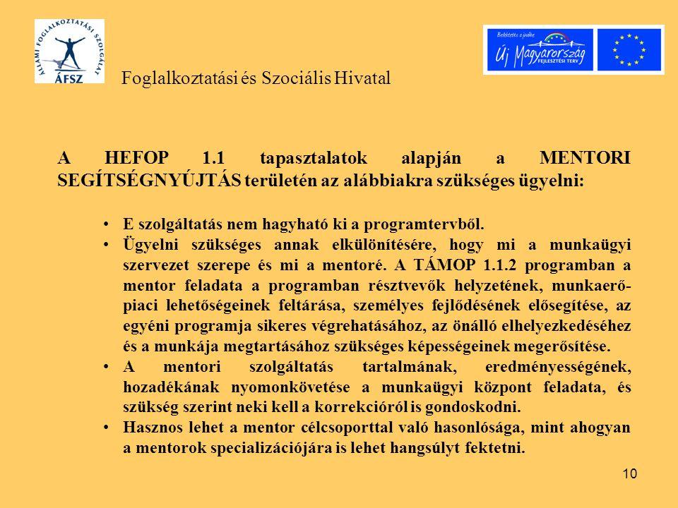 10 Foglalkoztatási és Szociális Hivatal A HEFOP 1.1 tapasztalatok alapján a MENTORI SEGÍTSÉGNYÚJTÁS területén az alábbiakra szükséges ügyelni: E szolg