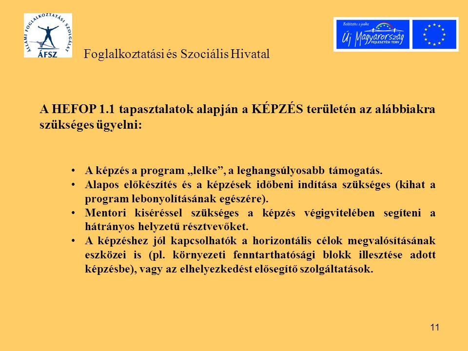 """11 Foglalkoztatási és Szociális Hivatal A HEFOP 1.1 tapasztalatok alapján a KÉPZÉS területén az alábbiakra szükséges ügyelni: A képzés a program """"lelke , a leghangsúlyosabb támogatás."""