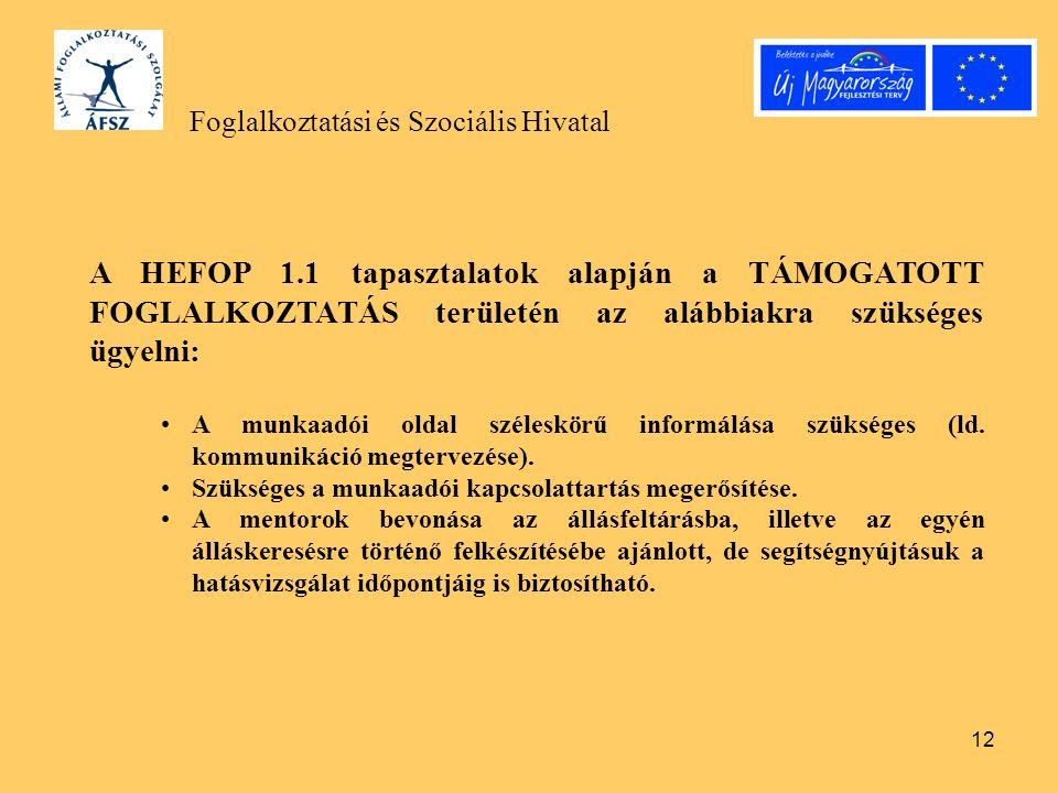 12 Foglalkoztatási és Szociális Hivatal A HEFOP 1.1 tapasztalatok alapján a TÁMOGATOTT FOGLALKOZTATÁS területén az alábbiakra szükséges ügyelni: A munkaadói oldal széleskörű informálása szükséges (ld.
