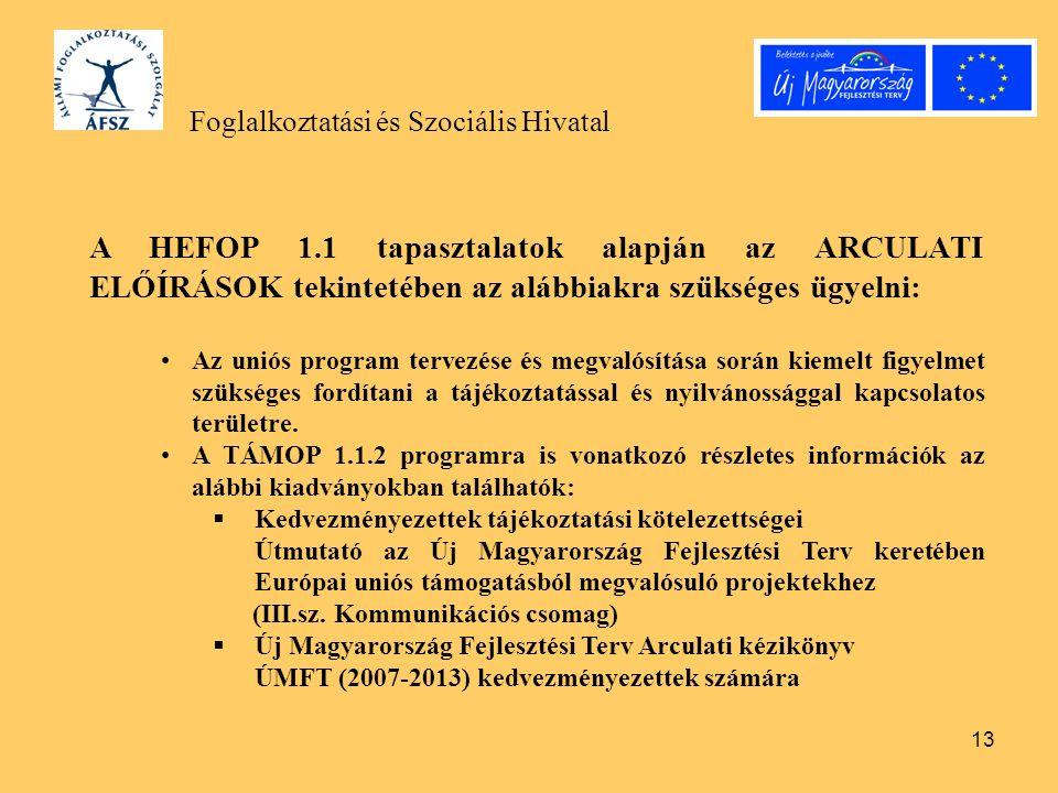 13 Foglalkoztatási és Szociális Hivatal A HEFOP 1.1 tapasztalatok alapján az ARCULATI ELŐÍRÁSOK tekintetében az alábbiakra szükséges ügyelni: Az uniós program tervezése és megvalósítása során kiemelt figyelmet szükséges fordítani a tájékoztatással és nyilvánossággal kapcsolatos területre.