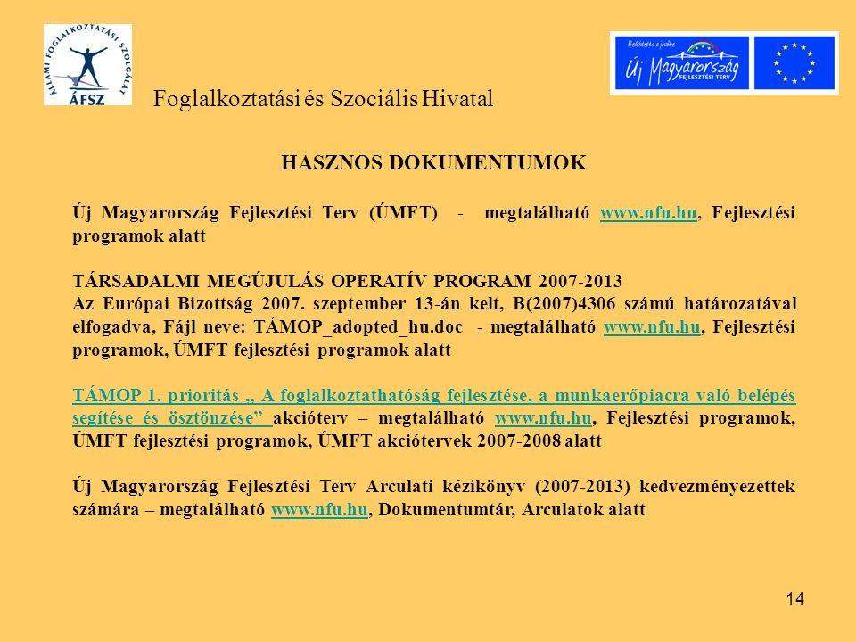 14 Foglalkoztatási és Szociális Hivatal HASZNOS DOKUMENTUMOK Új Magyarország Fejlesztési Terv (ÚMFT) - megtalálható www.nfu.hu, Fejlesztési programok