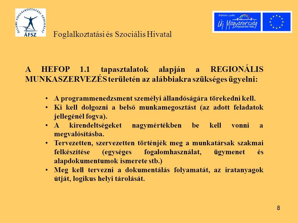 8 Foglalkoztatási és Szociális Hivatal A HEFOP 1.1 tapasztalatok alapján a REGIONÁLIS MUNKASZERVEZÉS területén az alábbiakra szükséges ügyelni: A programmenedzsment személyi állandóságára törekedni kell.