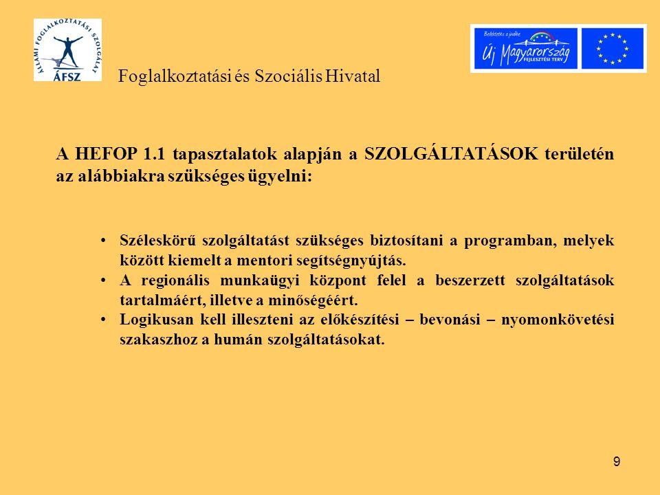 9 Foglalkoztatási és Szociális Hivatal A HEFOP 1.1 tapasztalatok alapján a SZOLGÁLTATÁSOK területén az alábbiakra szükséges ügyelni: Széleskörű szolgá