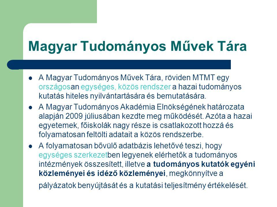 Magyar Tudományos Művek Tára A Magyar Tudományos Művek Tára, röviden MTMT egy országosan egységes, közös rendszer a hazai tudományos kutatás hiteles nyilvántartására és bemutatására.