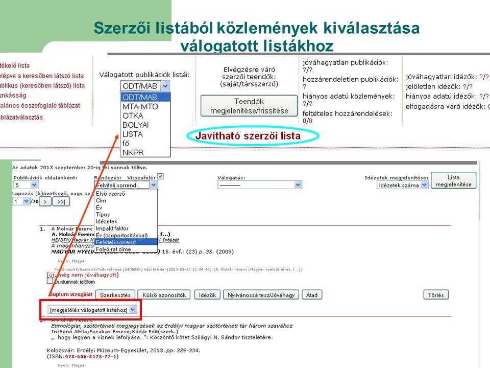 Szerzői listából közlemények kiválasztása válogatott listákhoz