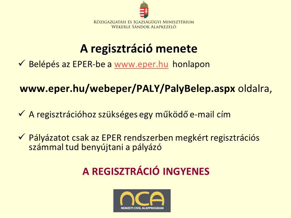 A regisztráció menete Belépés az EPER-be a www.eper.hu honlaponwww.eper.hu www.eper.hu/webeper/PALY/PalyBelep.aspx oldalra, A regisztrációhoz szükséges egy működő e-mail cím Pályázatot csak az EPER rendszerben megkért regisztrációs számmal tud benyújtani a pályázó A REGISZTRÁCIÓ INGYENES