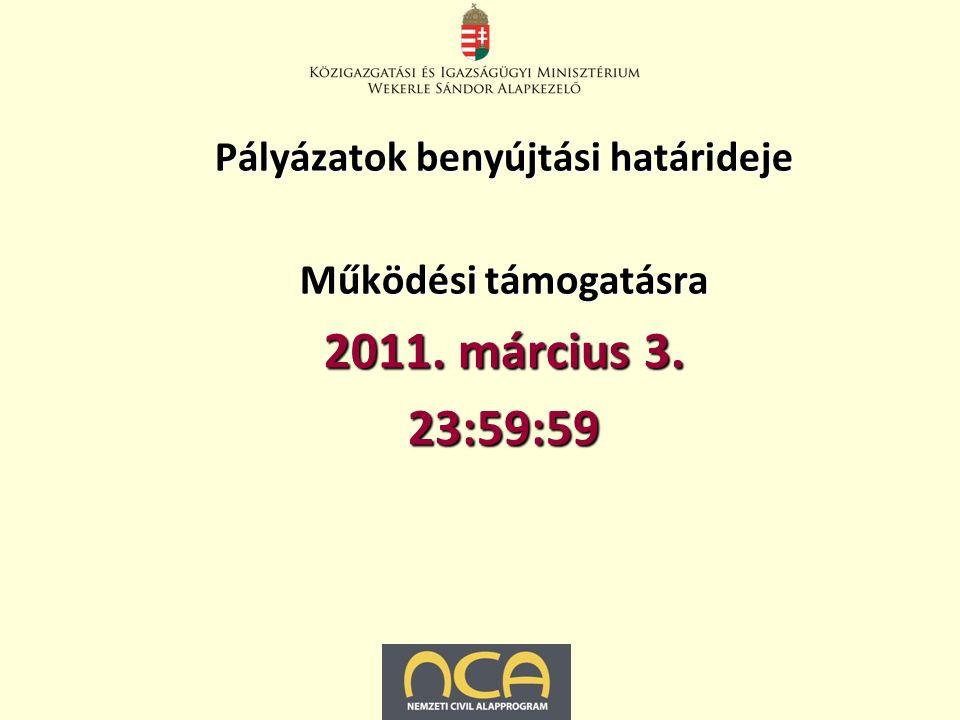 Pályázatok benyújtási határideje Működési támogatásra 2011. március 3. 23:59:59