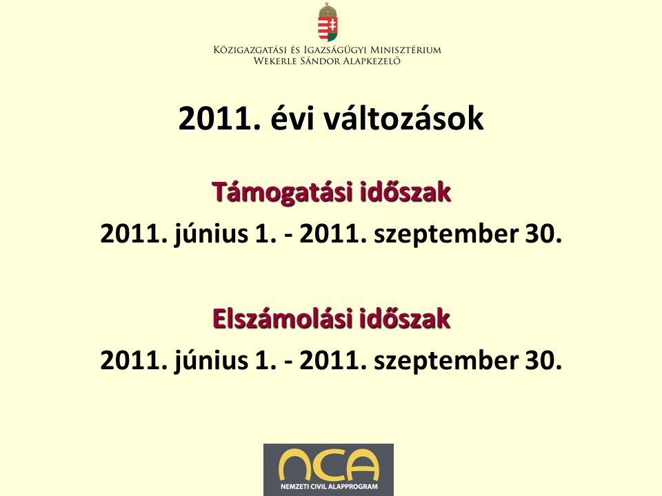 2011. évi változások Támogatási időszak 2011. június 1.
