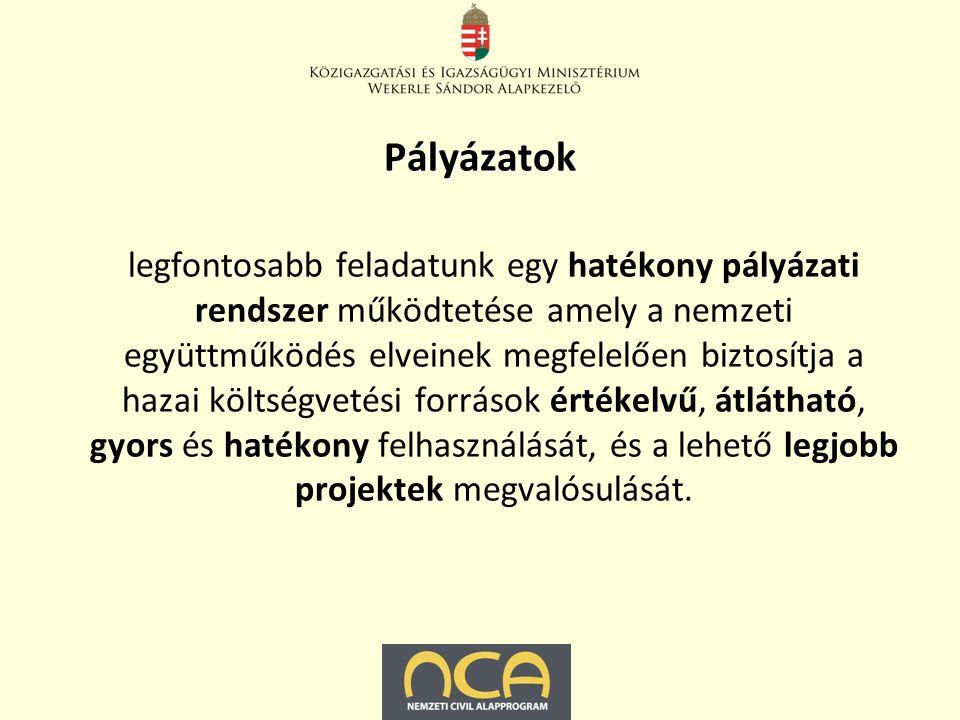 Pályázatok egyházi, nemzetiségi, kisebbségi, civil és társadalmi felzárkózással kapcsolatos pályázatok, egyes közoktatási és felsőoktatási projektek is, Bursa Hungarica Felsőoktatási Önkormányzati Ösztöndíjrendszer, Útravaló Ösztöndíjprogram.