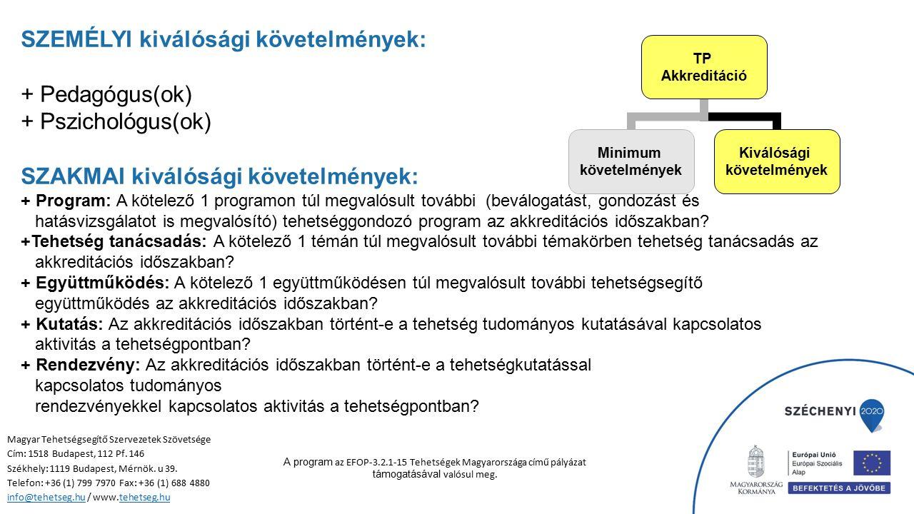 SZEMÉLYI kiválósági követelmények: + Pedagógus(ok) + Pszichológus(ok) SZAKMAI kiválósági követelmények: + Program: A kötelező 1 programon túl megvalósult további (beválogatást, gondozást és hatásvizsgálatot is megvalósító) tehetséggondozó program az akkreditációs időszakban.