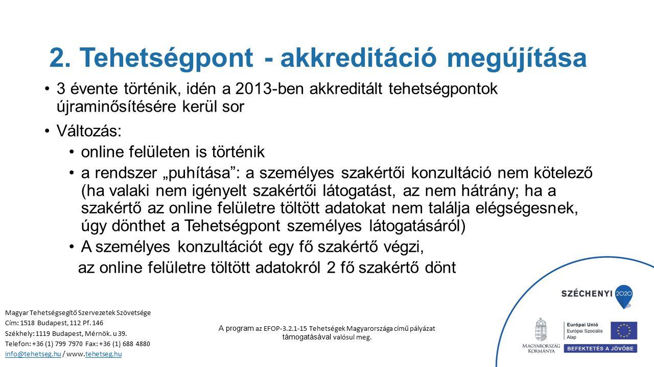 SZEMÉLYI feltételek bemutatása Magyar Tehetségsegítő Szervezetek Szövetsége Cím: 1518 Budapest, 112 Pf.
