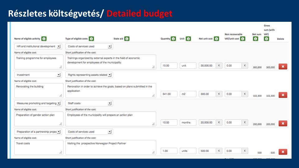 Részletes költségvetés/ Detailed budget