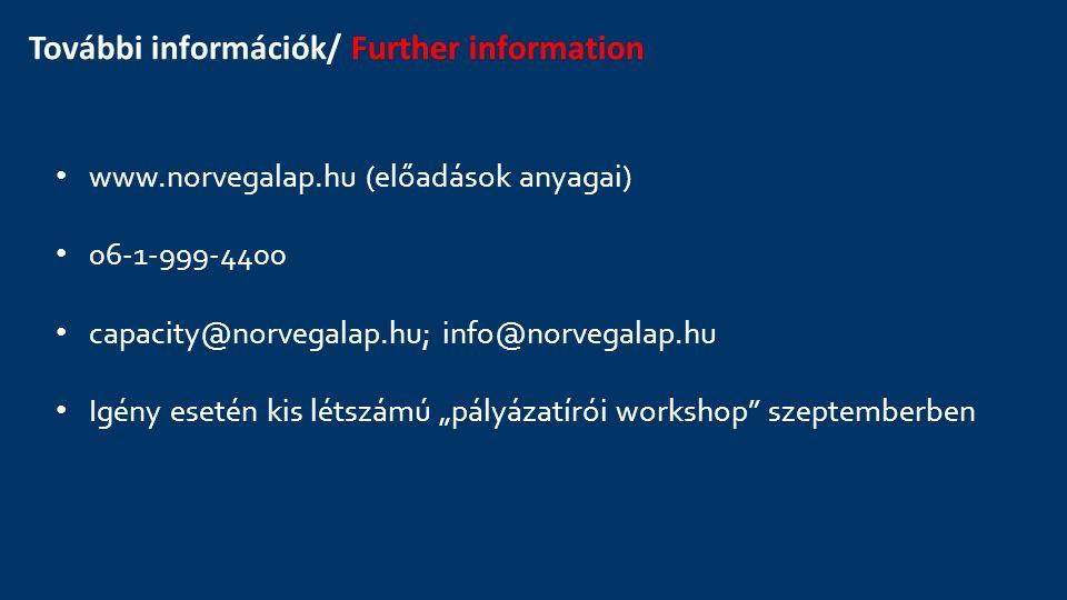 További információk/ Further information www.norvegalap.hu (előadások anyagai) 06-1-999-4400 capacity@norvegalap.hu; info@norvegalap.hu Igény esetén k