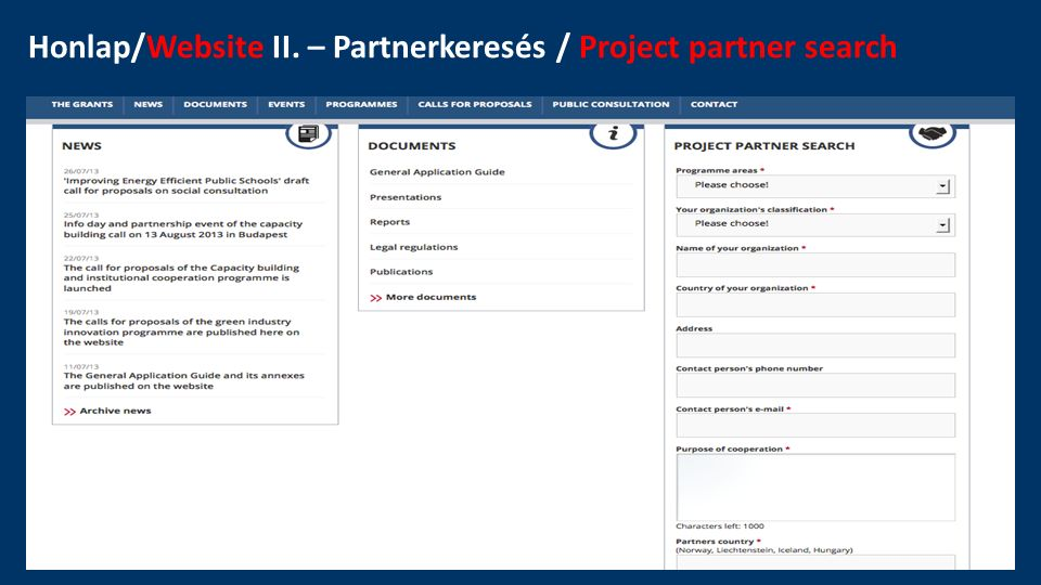 Honlap/Website II. – Partnerkeresés / Project partner search