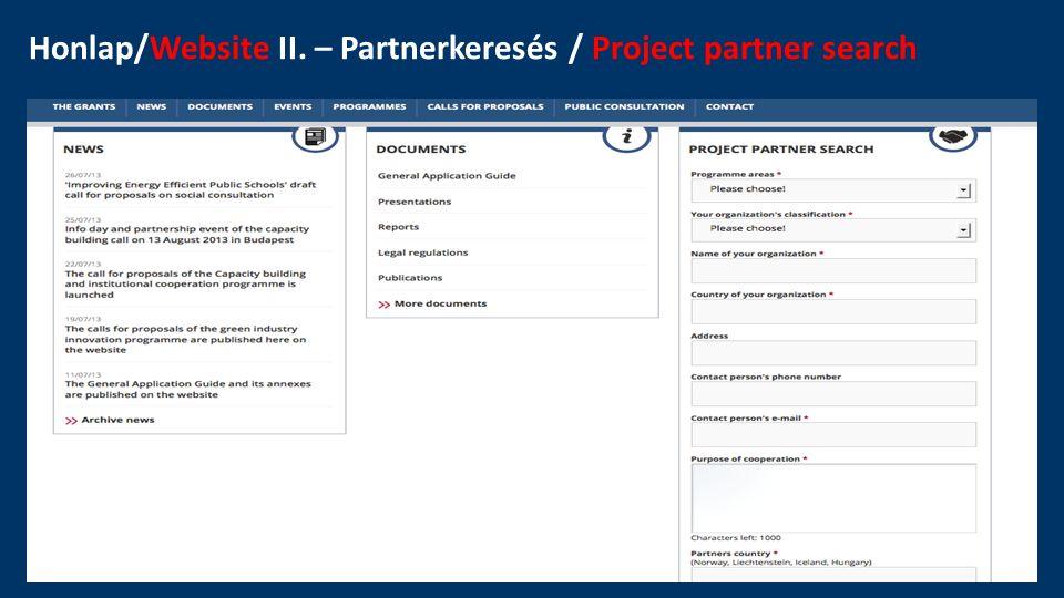 Honlap/Website III. – Partnerkeresés / Project partner search