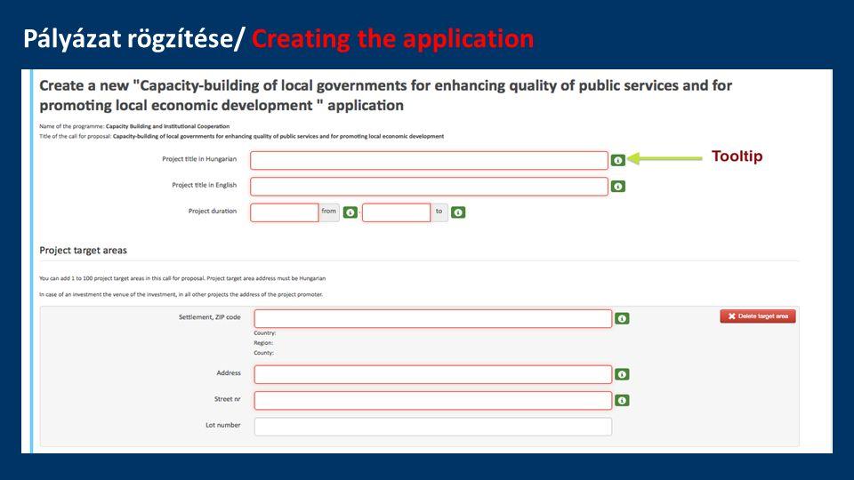 Pályázat rögzítése/ Creating the application