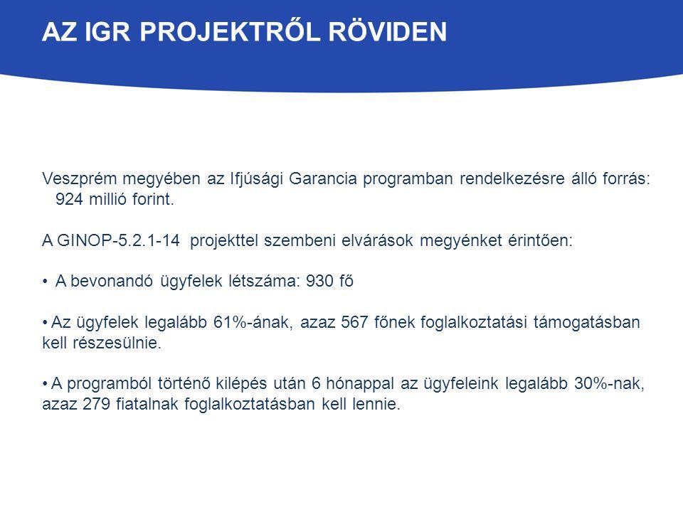 AZ IGR PROJEKTRŐL RÖVIDEN Veszprém megyében az Ifjúsági Garancia programban rendelkezésre álló forrás: 924 millió forint. A GINOP-5.2.1-14 projekttel