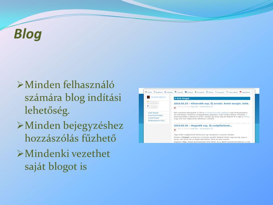 Blog  Minden felhasználó számára blog indítási lehetőség.  Minden bejegyzéshez hozzászólás fűzhető  Mindenki vezethet saját blogot is