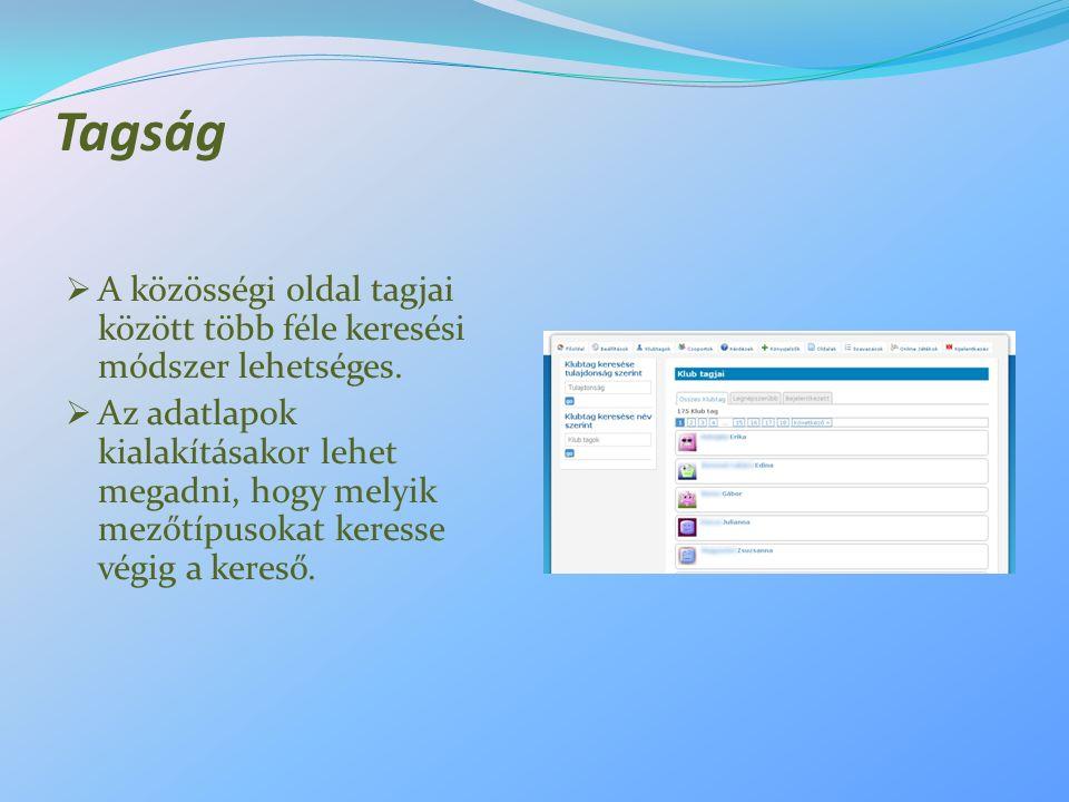 Tagság  A közösségi oldal tagjai között több féle keresési módszer lehetséges.  Az adatlapok kialakításakor lehet megadni, hogy melyik mezőtípusokat