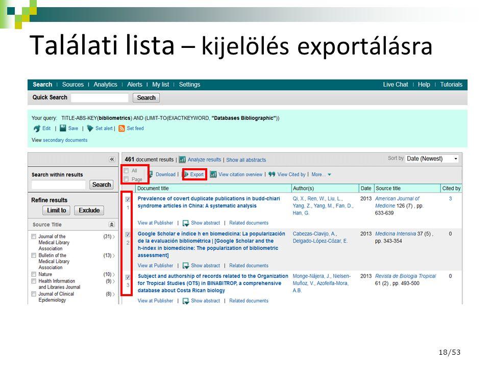 Találati lista – kijelölés exportálásra 18/53
