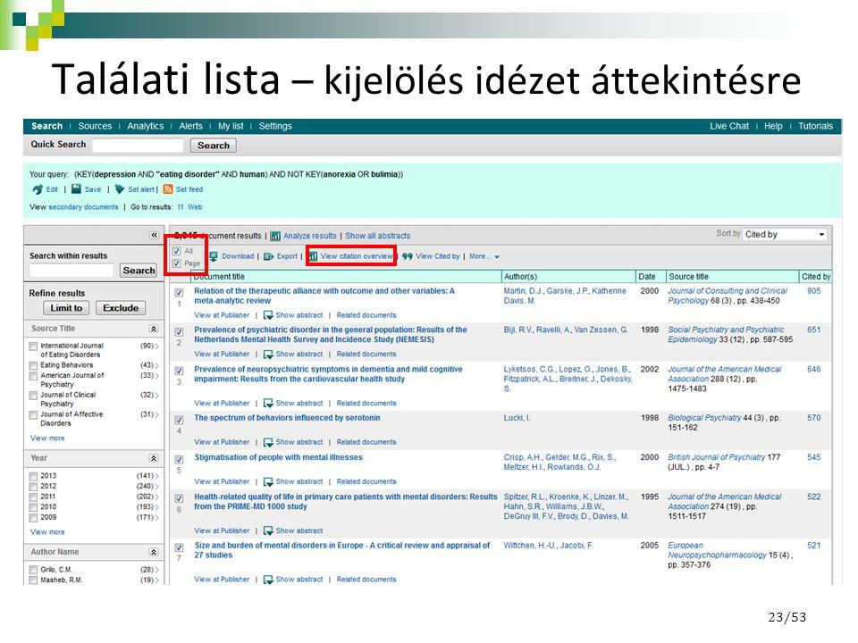 Találati lista – kijelölés idézet áttekintésre 23/53