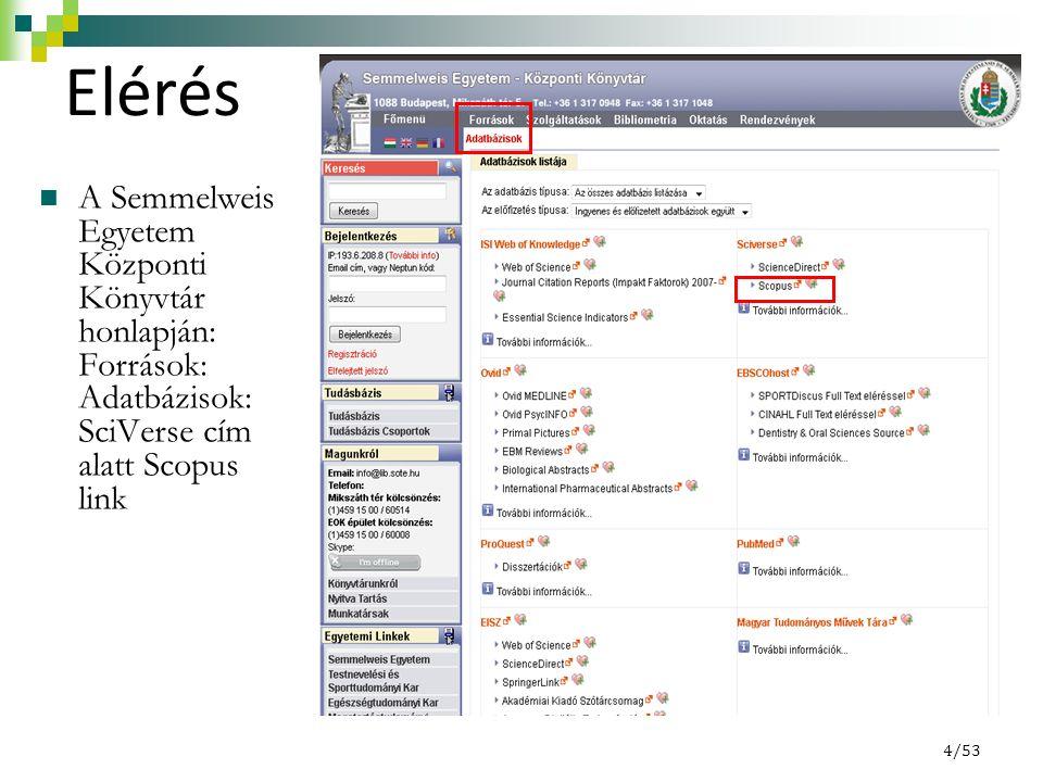 Elérés A Semmelweis Egyetem Központi Könyvtár honlapján: Források: Adatbázisok: SciVerse cím alatt Scopus link 4/53