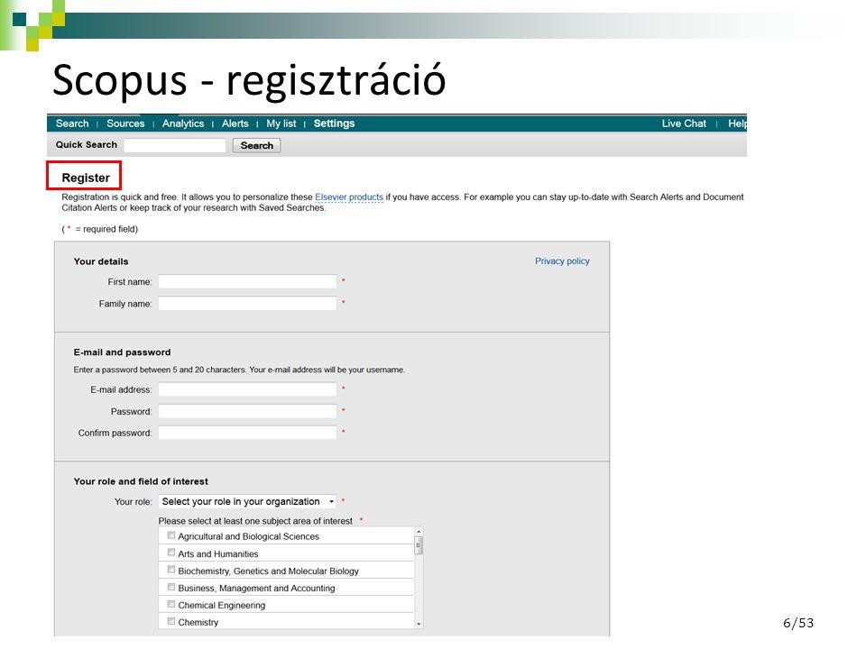 Scopus - regisztráció 6/53