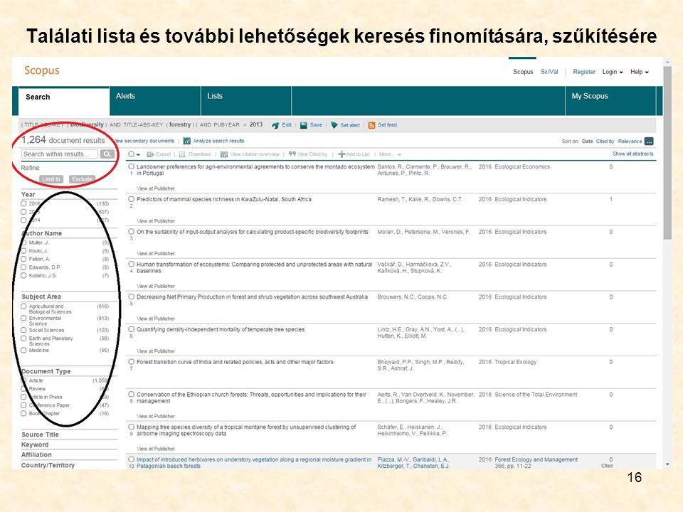 Találati lista és további lehetőségek keresés finomítására, szűkítésére 16