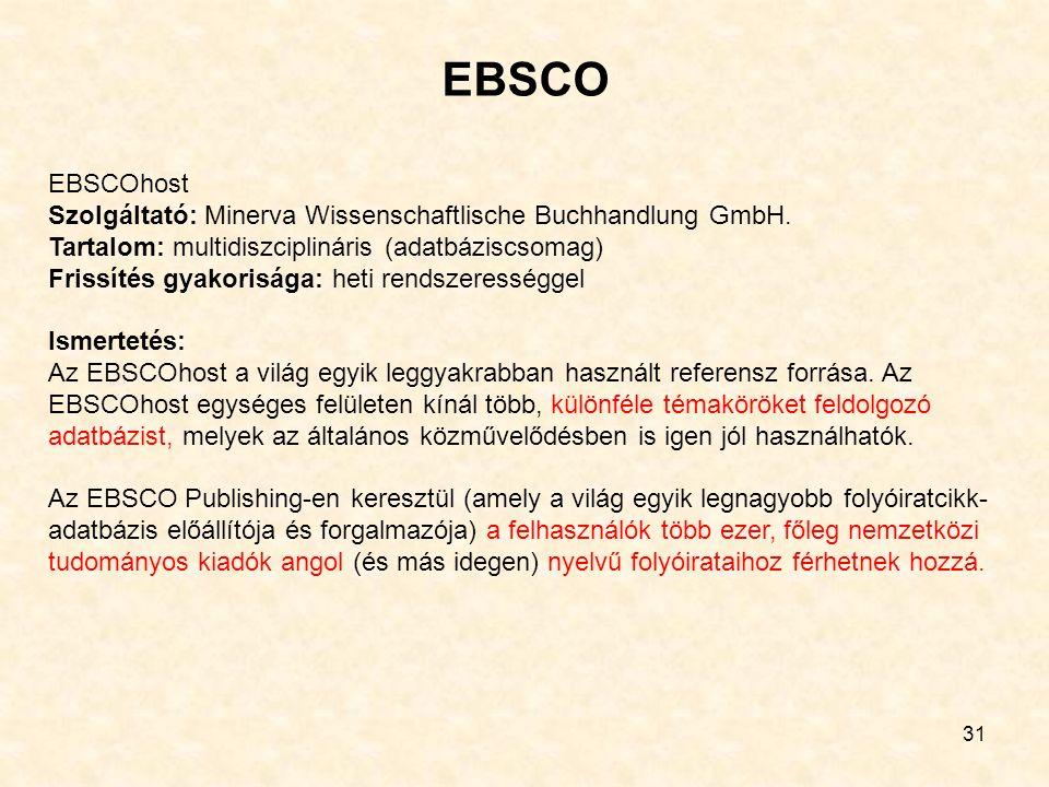 EBSCO 31 EBSCOhost Szolgáltató: Minerva Wissenschaftlische Buchhandlung GmbH. Tartalom: multidiszciplináris (adatbáziscsomag) Frissítés gyakorisága: h