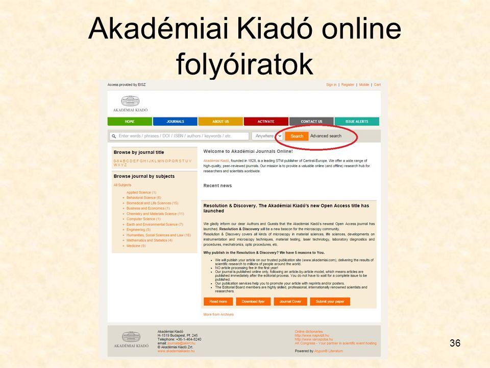 Akadémiai Kiadó online folyóiratok 36