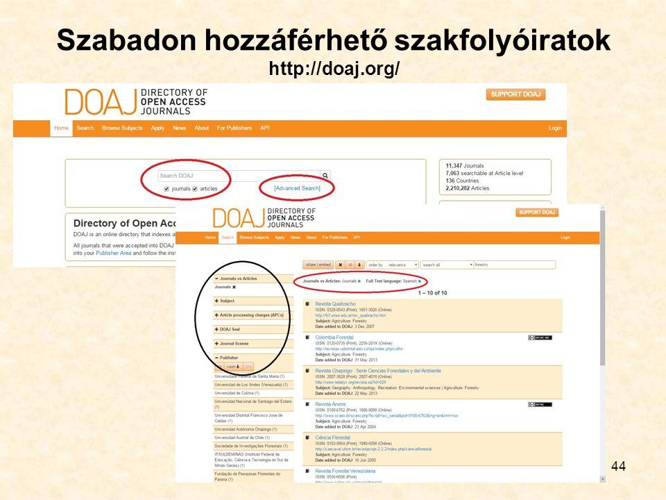 Szabadon hozzáférhető szakfolyóiratok http://doaj.org/ 44
