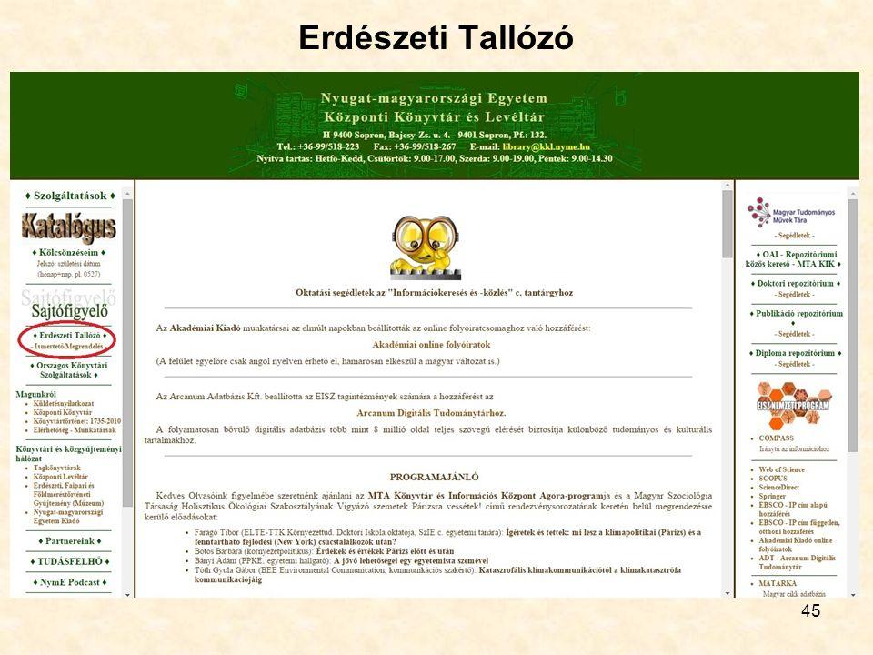 45 Erdészeti Tallózó