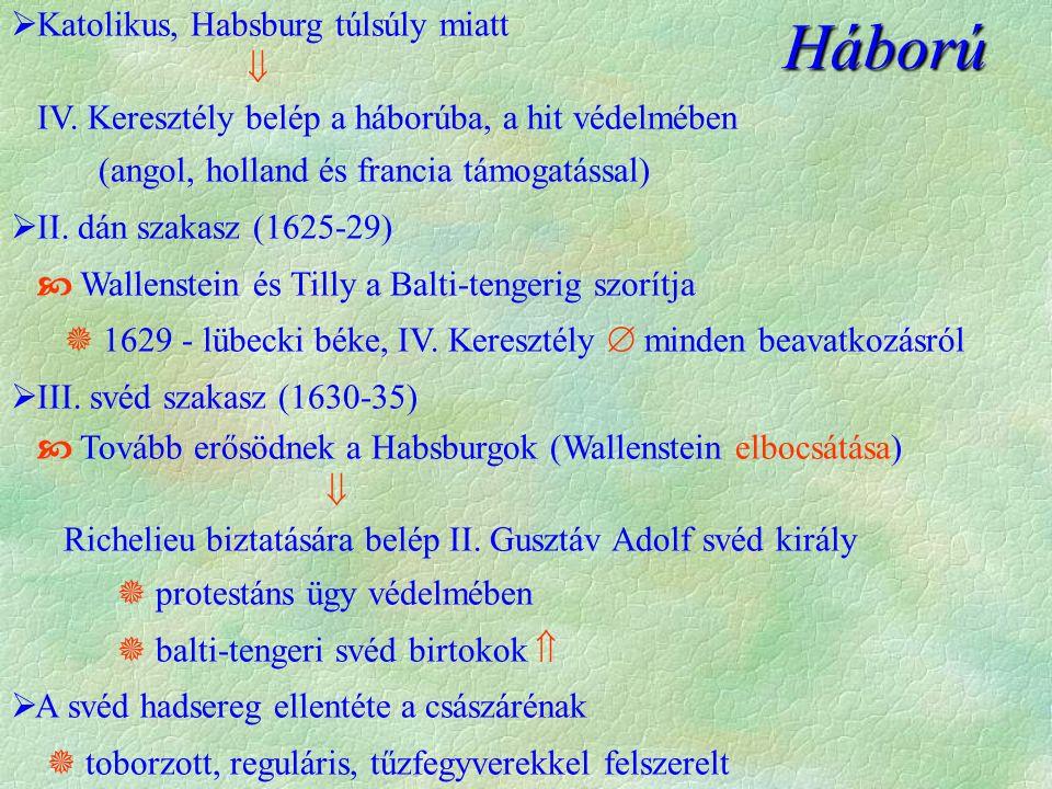  Katolikus, Habsburg túlsúly miatt  IV.