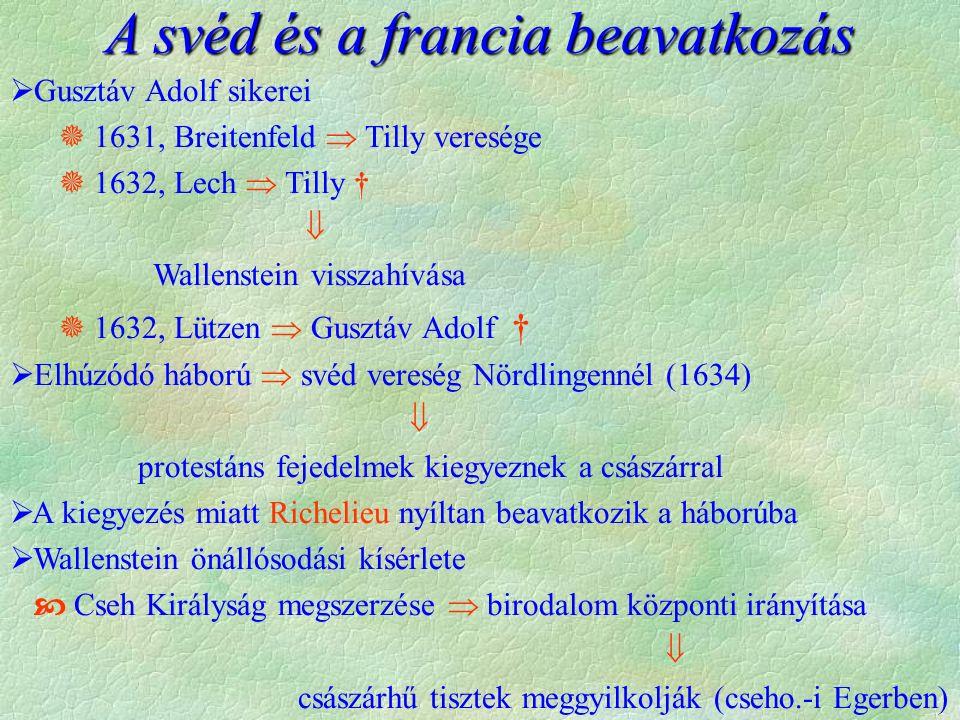  Gusztáv Adolf sikerei  1631, Breitenfeld  Tilly veresége  1632, Lech  Tilly †  Wallenstein visszahívása  1632, Lützen  Gusztáv Adolf †  Elhúzódó háború  svéd vereség Nördlingennél (1634)  protestáns fejedelmek kiegyeznek a császárral  A kiegyezés miatt Richelieu nyíltan beavatkozik a háborúba  Wallenstein önállósodási kísérlete  Cseh Királyság megszerzése  birodalom központi irányítása  császárhű tisztek meggyilkolják (cseho.-i Egerben) A svéd és a francia beavatkozás