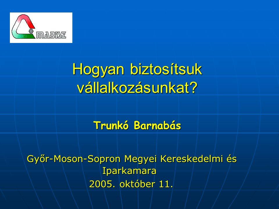 Hogyan biztosítsuk vállalkozásunkat? Trunkó Barnabás Győr-Moson-Sopron Megyei Kereskedelmi és Iparkamara Győr-Moson-Sopron Megyei Kereskedelmi és Ipar