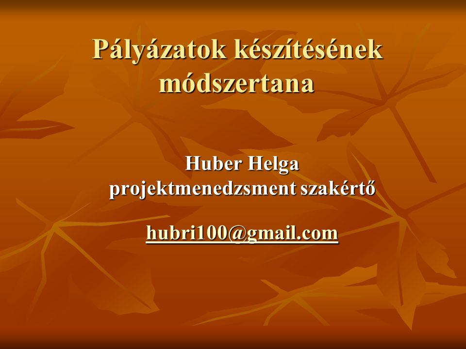 Pályázatok készítésének módszertana Huber Helga projektmenedzsment szakértő hubri100@gmail.com