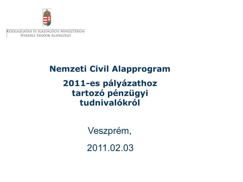 Nemzeti Civil Alapprogram 2011-es pályázathoz tartozó pénzügyi tudnivalókról Veszprém, 2011.02.03.