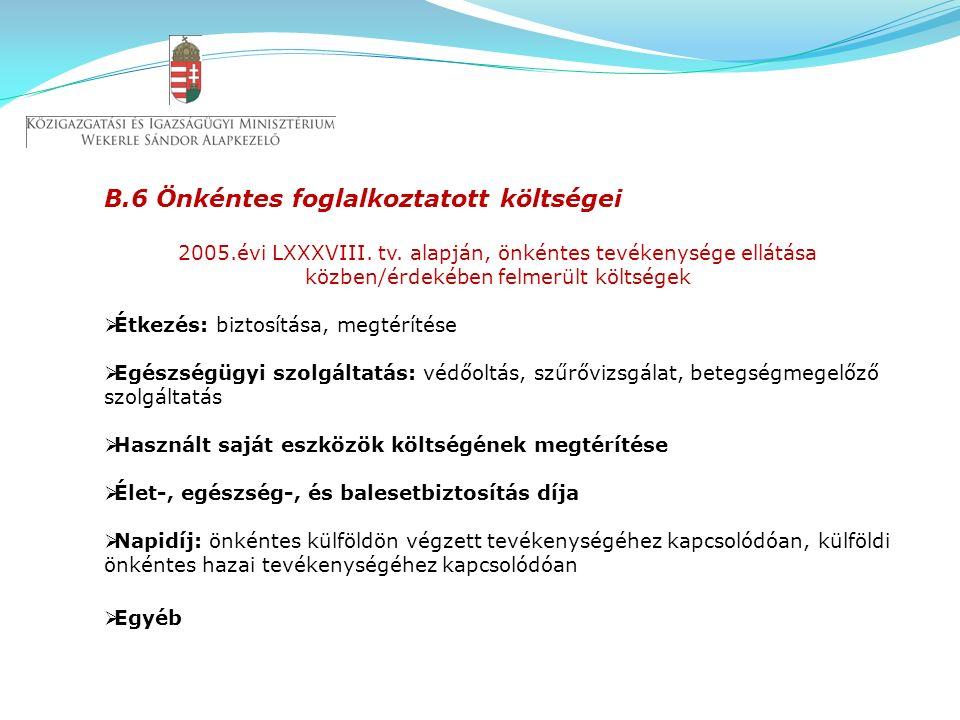 B.6 Önkéntes foglalkoztatott költségei 2005.évi LXXXVIII.
