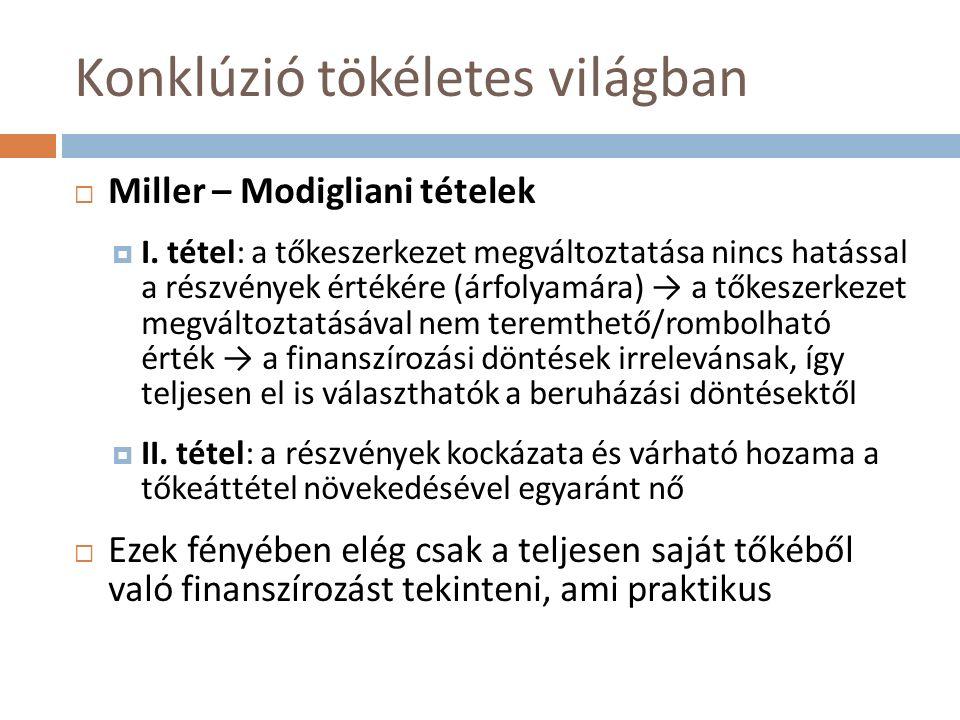 Konklúzió tökéletes világban  Miller – Modigliani tételek  I. tétel: a tőkeszerkezet megváltoztatása nincs hatással a részvények értékére (árfolyamá